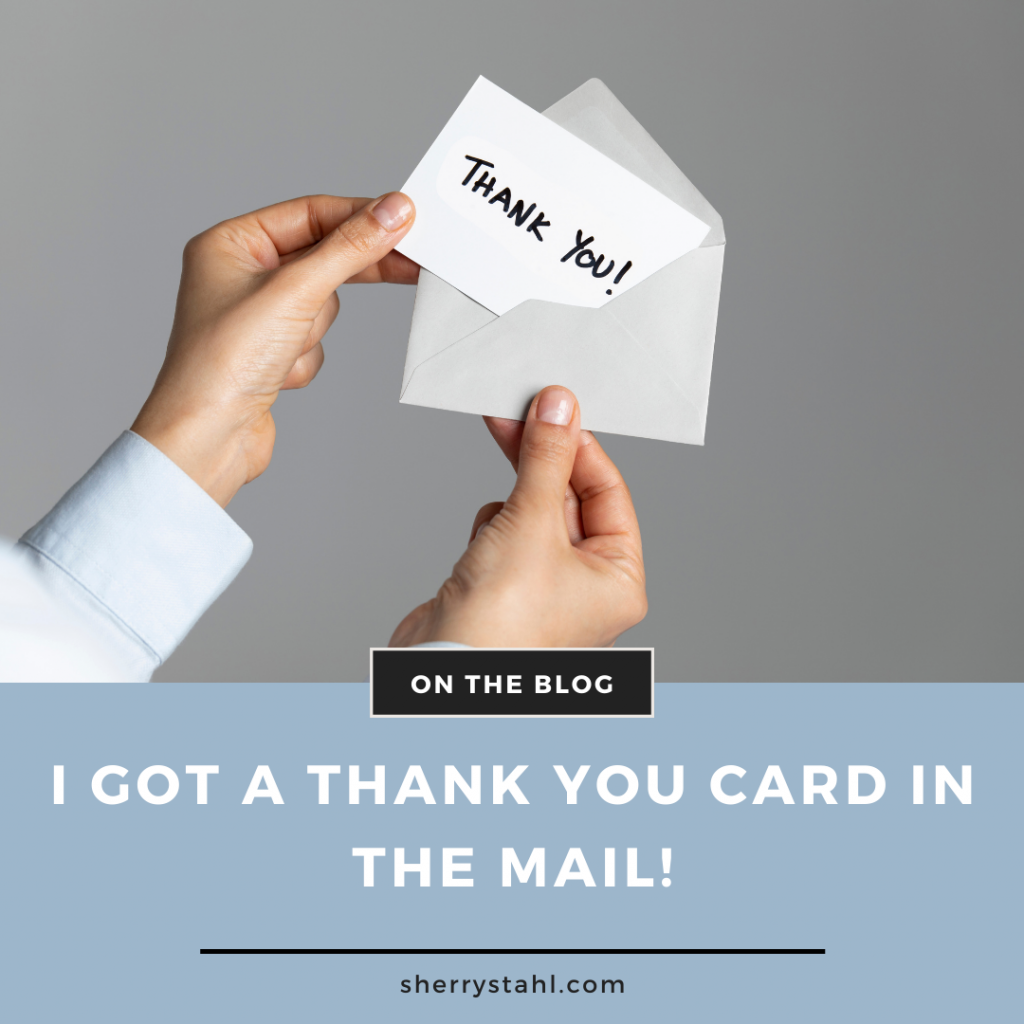 thank you card in the mail