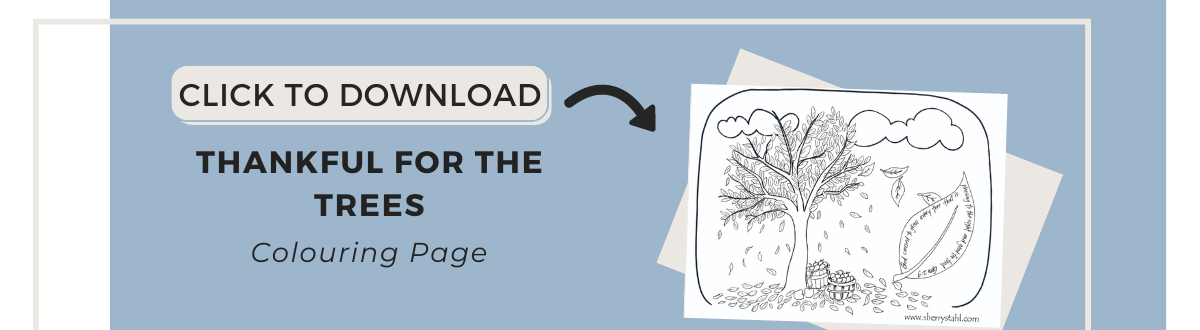 coloring page-thankful for the trees